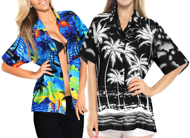LA LEELA Women's Hawaiian Blouse Shirt Casual Short Sleeve Fashion Work from Home Clothes Women Beach Shirt Blouse Shirt Combo Pack of 2 Size XL