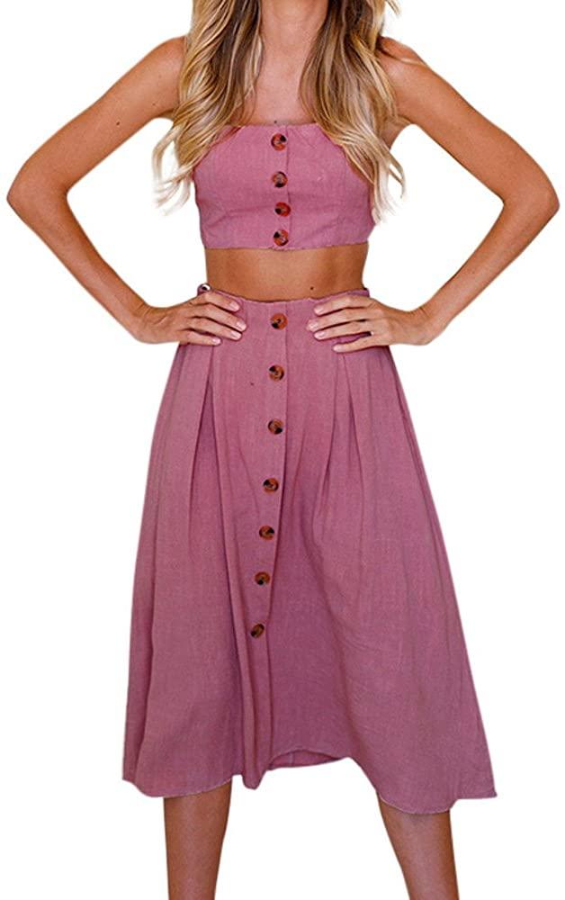 Womens Sexy Sleeveless Boho Beach Blouse Tops + Pocket Skirt Suit Off Shoulder T-Shirt Tee 2PCS Outfit Set