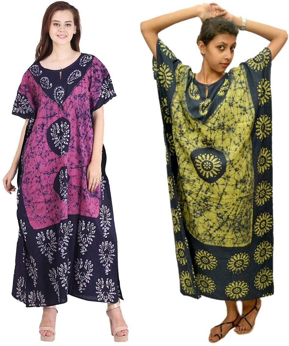 Creativegifts Cotton Caftan/Kaftan Combo 2 Indian Cotton Batik Bohemian Long Dress (feb-37)
