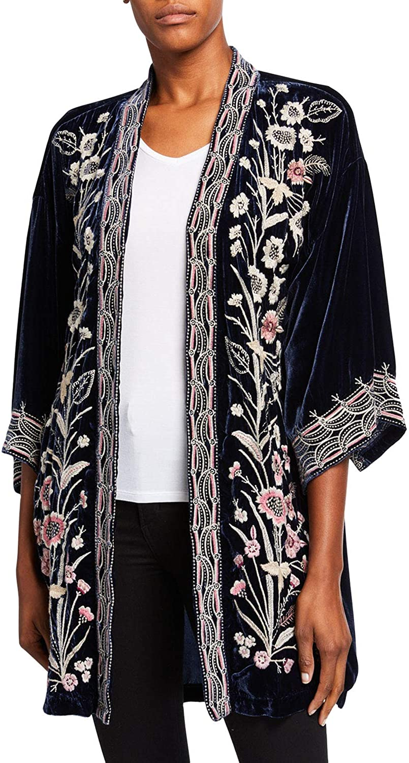 JWLA By Johnny Was Women's Velvet Embroidered Kimono Cardigan