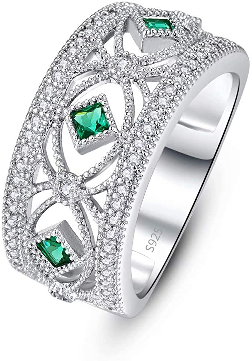 TOWNMISS 925 Sterling Silver Rings Women Green Cubic Zirconia CZ Simulated Rainbow Ring for Lady