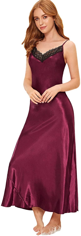 MAKEMECHIC Women's V Neck Floral Lace Split Side Velvet Cami Dress Nightwear