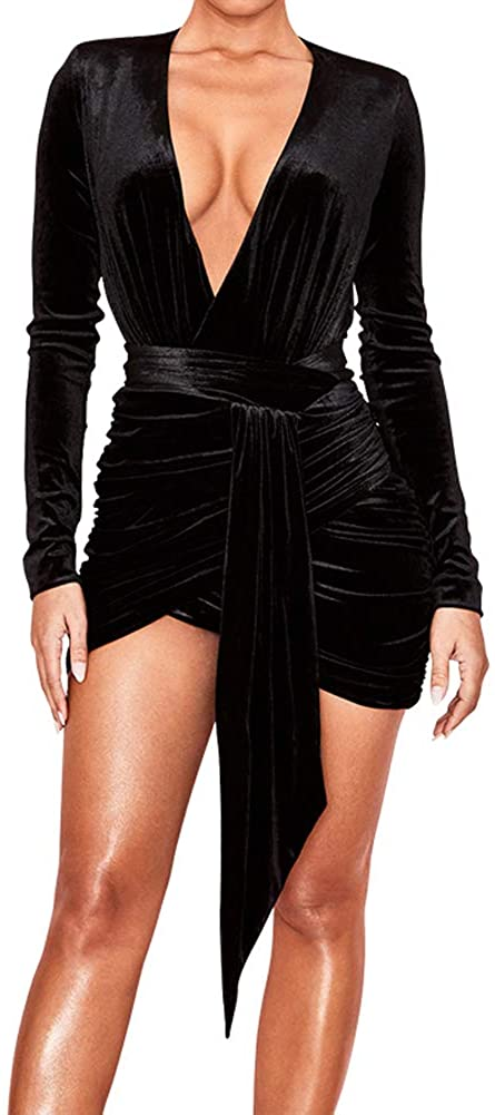 DEIVE TEGER Womens Sexy Velvet Long Sleeve Bodycon Mini Party Dress