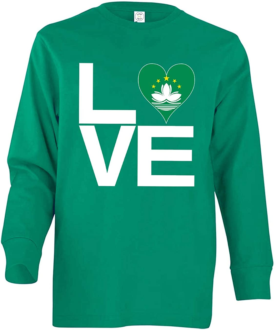 Tenacitee Boy's Youth Love Block Macau Heart Long Sleeve