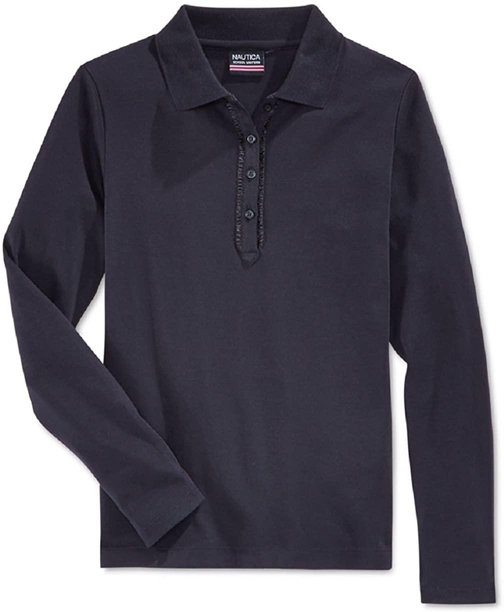 Nautica Girls' Uniform Ruffled Long-Sleeve Polo Shirt