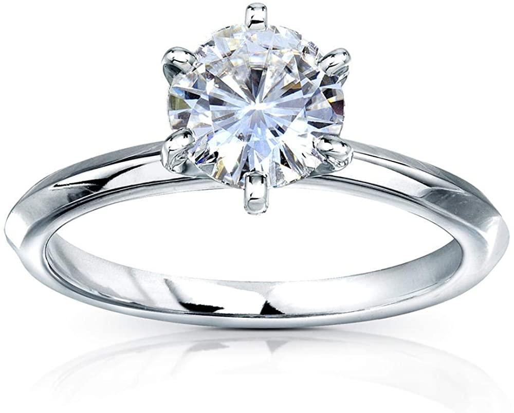 Kobelli Classic Solitaire Round Brilliant Moissanite Engagement Ring 1 Carat 14k White Gold (FG, VS)