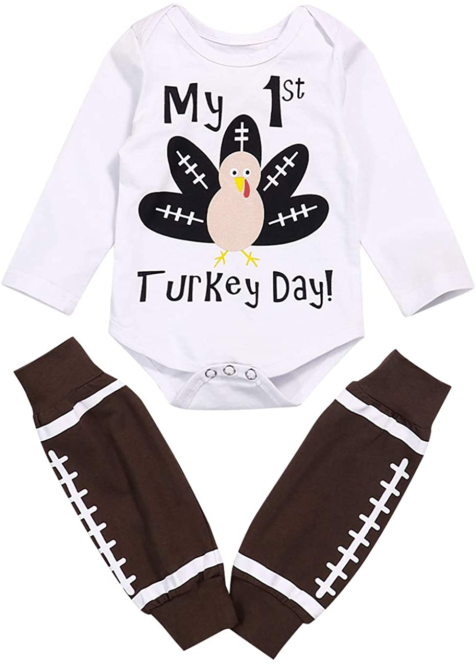 Thanksgiving Outfits Set Newborn Baby Girl My First Thanksgiving Long Sleeve Romper+ Bow-Tied Skirt + Headband Clothes Set