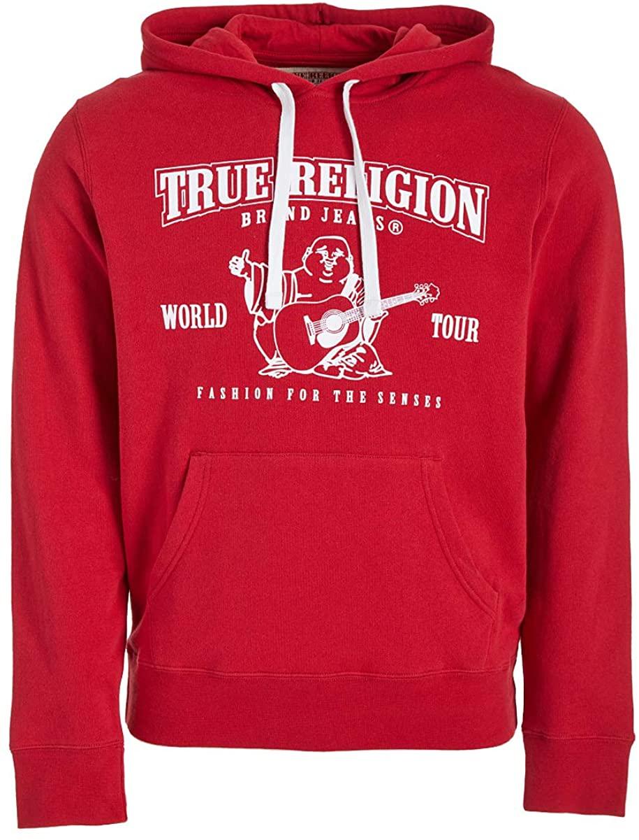 True Religion Men's Crop Long Sleeve Pullover Hoodie