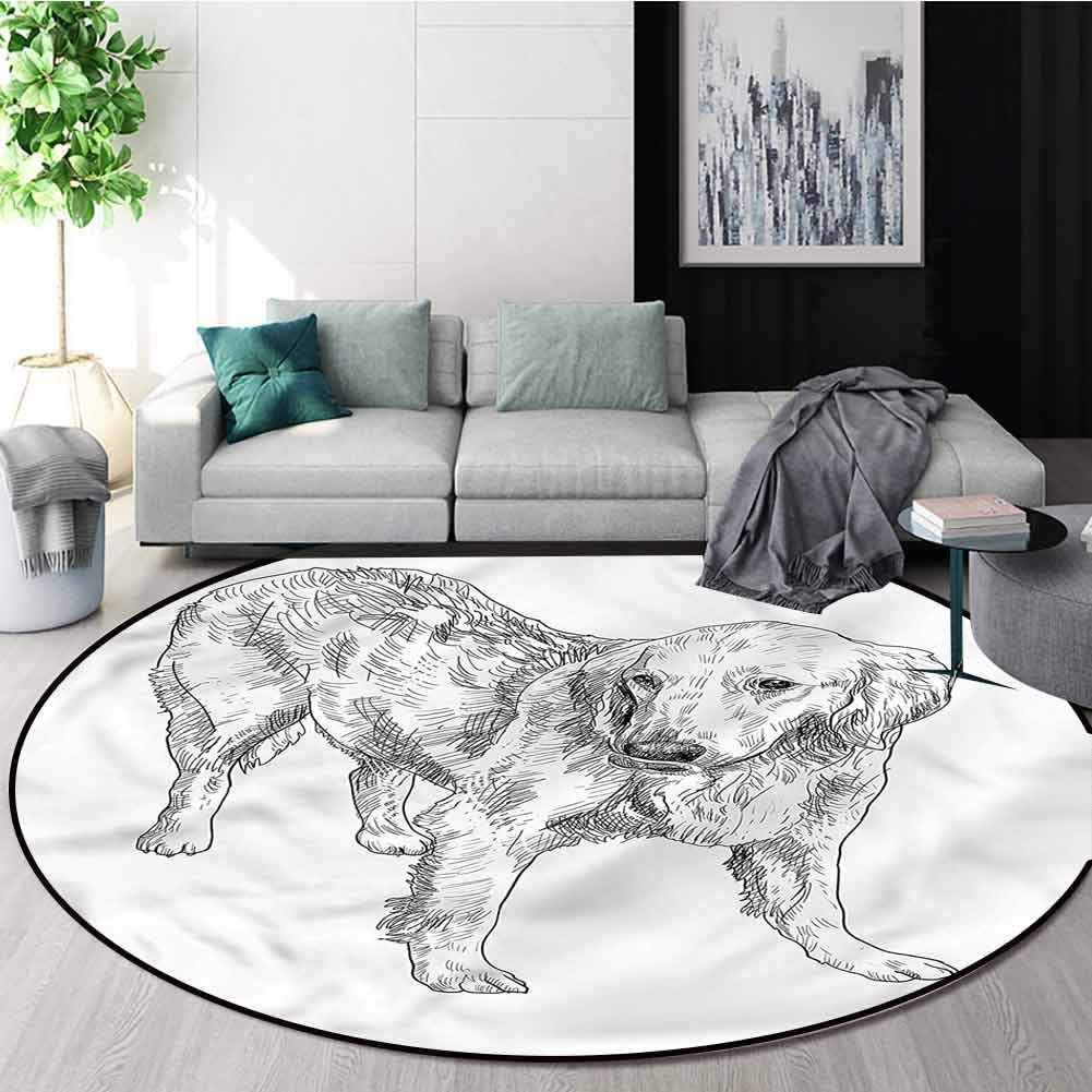 RUGSMAT Golden Retriever Area Rugs Traditional Design,Young Dog Art Learning Carpet Non Skid Nursery Kids Area Rug for Playroom Diameter-51