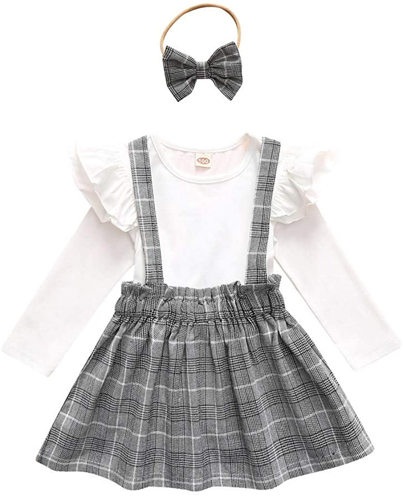 Fashion Ruched T-Shirt Tops+Suspenders Dress Plaid Skirt 2Pcs Outfits Clothes Set for 1-5TLittle Kids Toddler Baby Girls