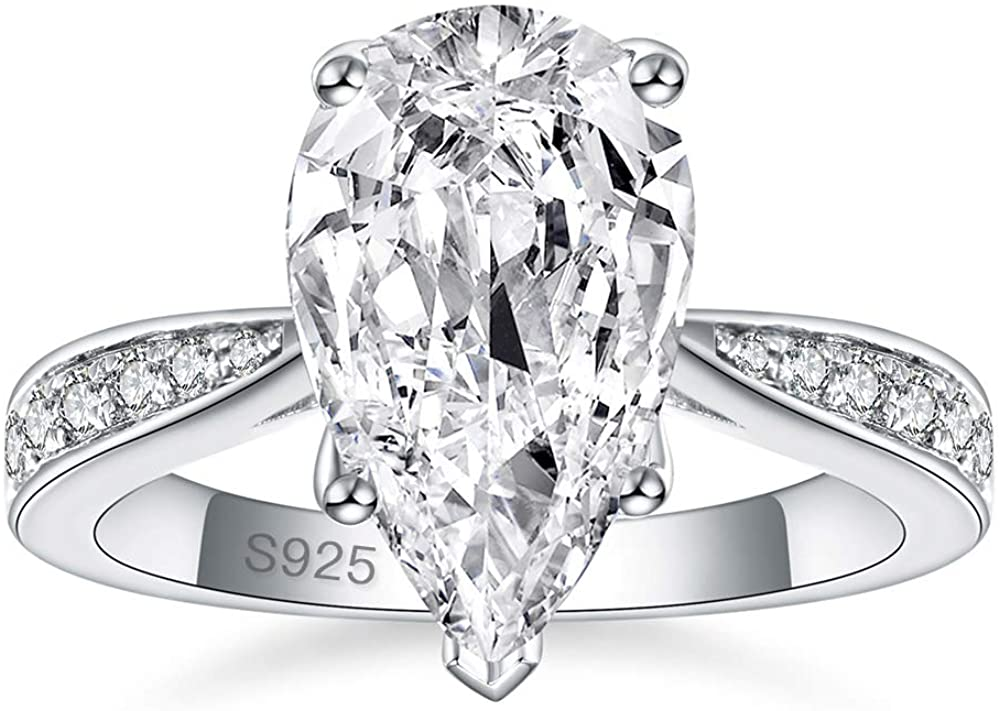 AVECON 4.3 Carats 925 Sterling Silver Teardrop Pear Cut Solitaire 5A Cubic Zirconia CZ Engagement Ring for Women Size 5-9