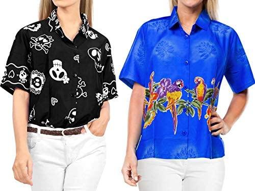 LA LEELA Women's Hawaiian Shirt Vintage Tropical Tunic Tank Shirt Work from Home Clothes Women Beach Shirt Blouse Shirt Combo Pack of 2 Size XX - Large