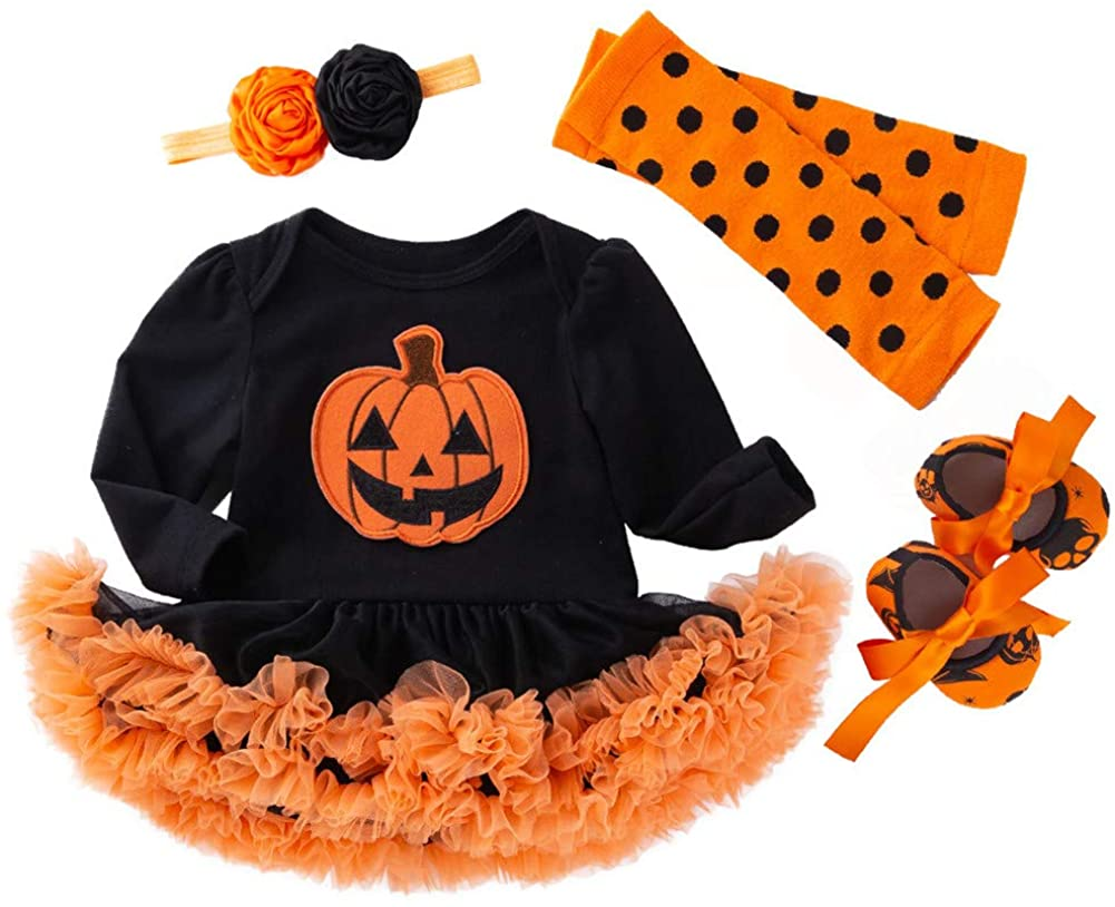 TENMET Baby Girl First Halloween Outfits Costume Tutu Romper Headband Leg Warmer Shoes Set