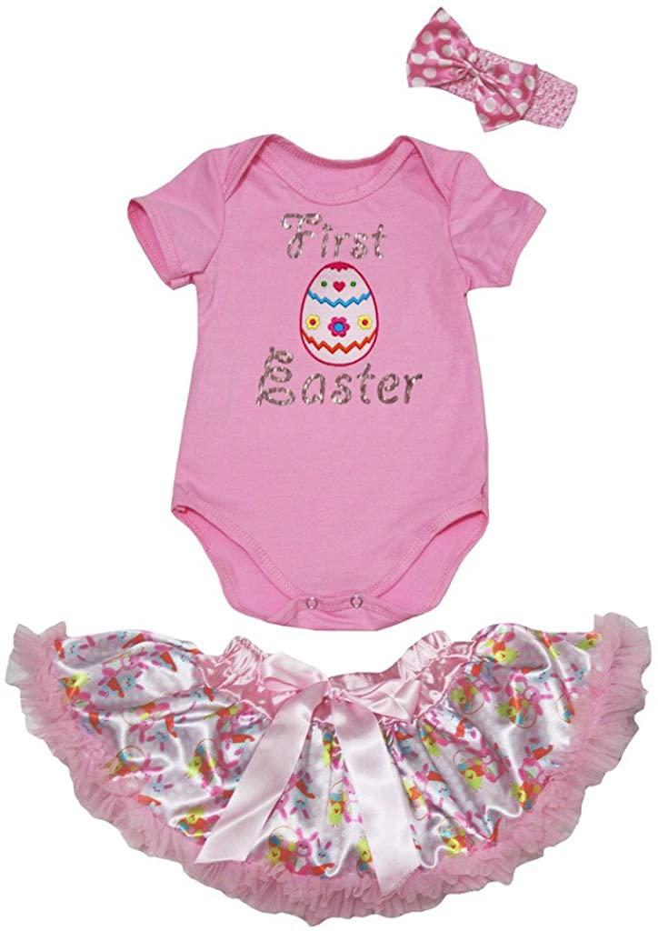 Petitebella First Easter Egg Pink Bodysuit Pink Floral Baby Skirt Nb-12m