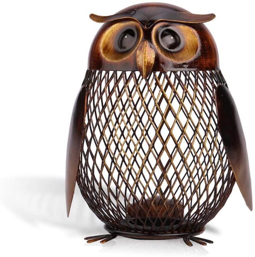 MEIYINGBI Piggy Bank Money Box Owl Metal Piggy Coin Bank Money Saving Box