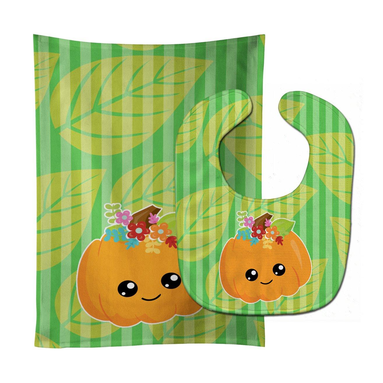 Caroline's Treasures BB6796STBU Pumpkin Fall Baby Bib & Burp Cloth, 11 x 18