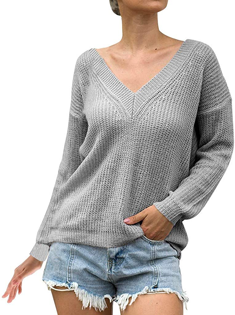 MoonHome Womens V Neck Soft Casual Sweaters Knit Pullover Lightweight Long Sleeve Oversized Sweater Tops