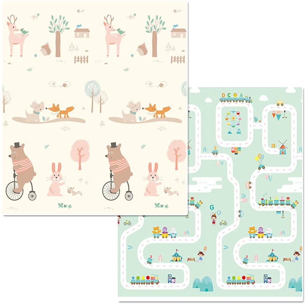 Coodio Cartoon Baby Play Mat Double Side Thickened Room Crawling Pad Carpet 180cm 200cm 2.0cm City of Dreams + Forest Animals