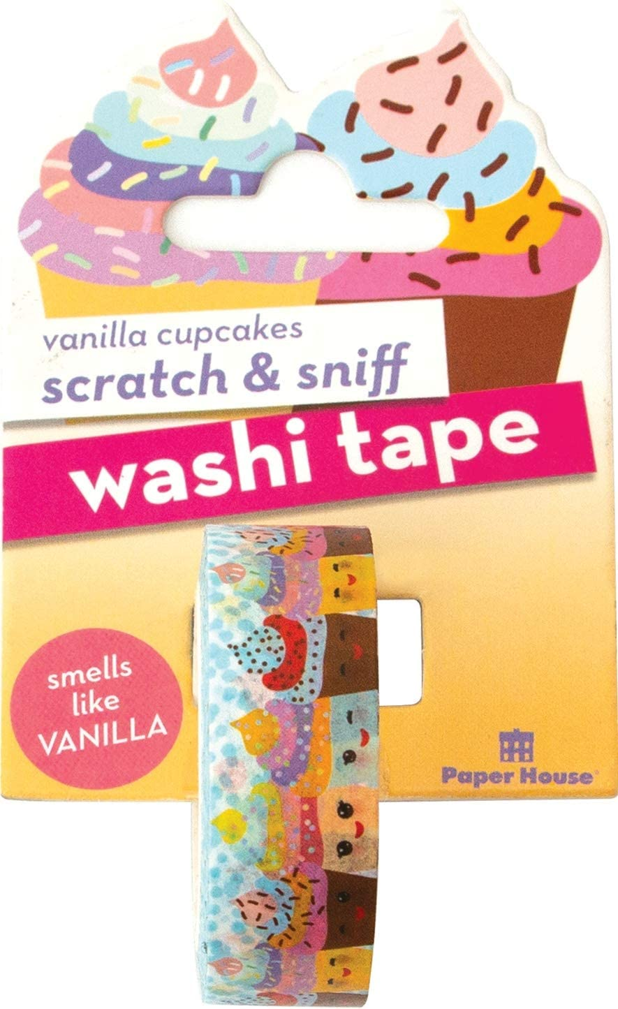 Paper House Productions Kawaii Cupcakes Vanilla Scented Scratch & Sniff Fun Print 15mm Washi Tape for Crafts and Scrapbooking