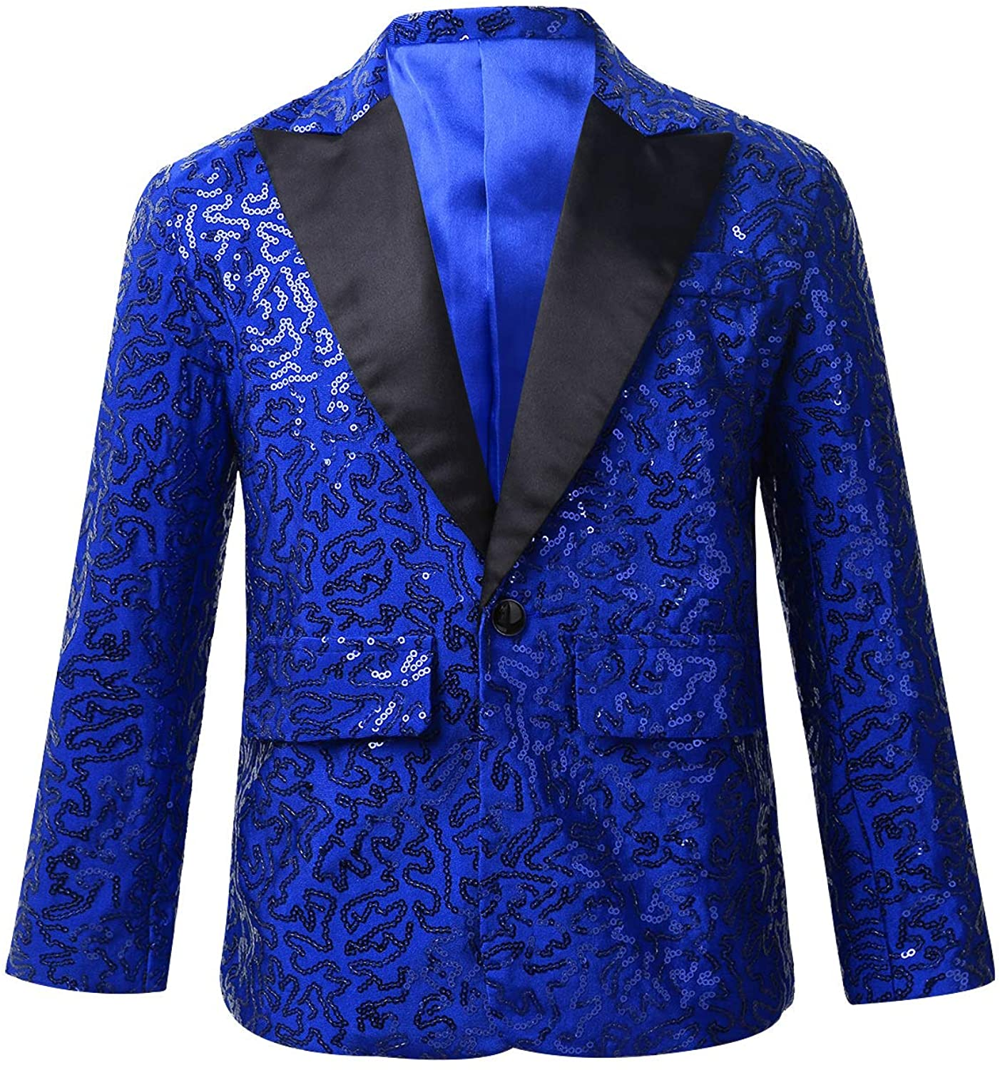Agoky Kids Boys Shiny Sequins Suit Jacket Coat Blazer Formal Tuxedo for Wedding Pageant Birthday Party Stage Performance