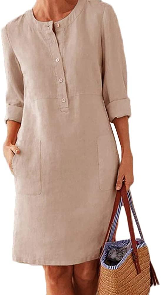 Autumn Cott Len Dress Butt O-Neck Midi Party Dress Women Lg Sleeve Pocket Solid Dress