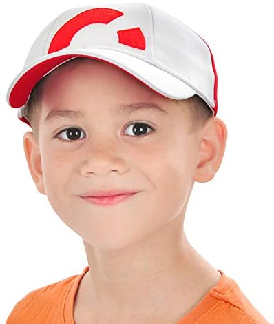 Kids Baseball Cap for Ash Ketchum Hat Cosplay Red and White