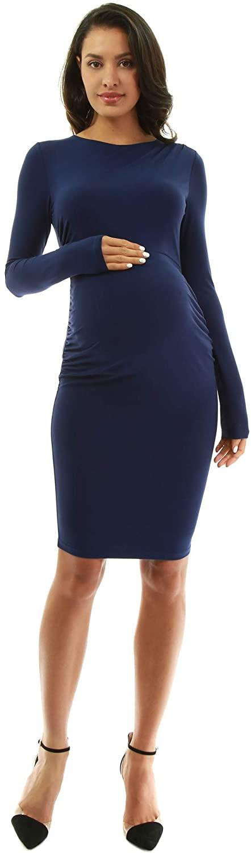 PattyBoutik Mama Crewneck Pleated Shoulder Maternity Dress