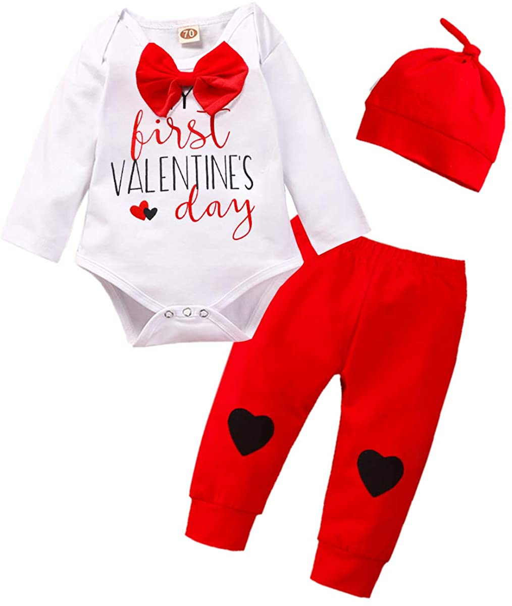 Kids Newborn Baby Boys Girls My First Valentines Day Outfit Romper Bodysuit Jumpsuit+Stripe Pants Clothes Set