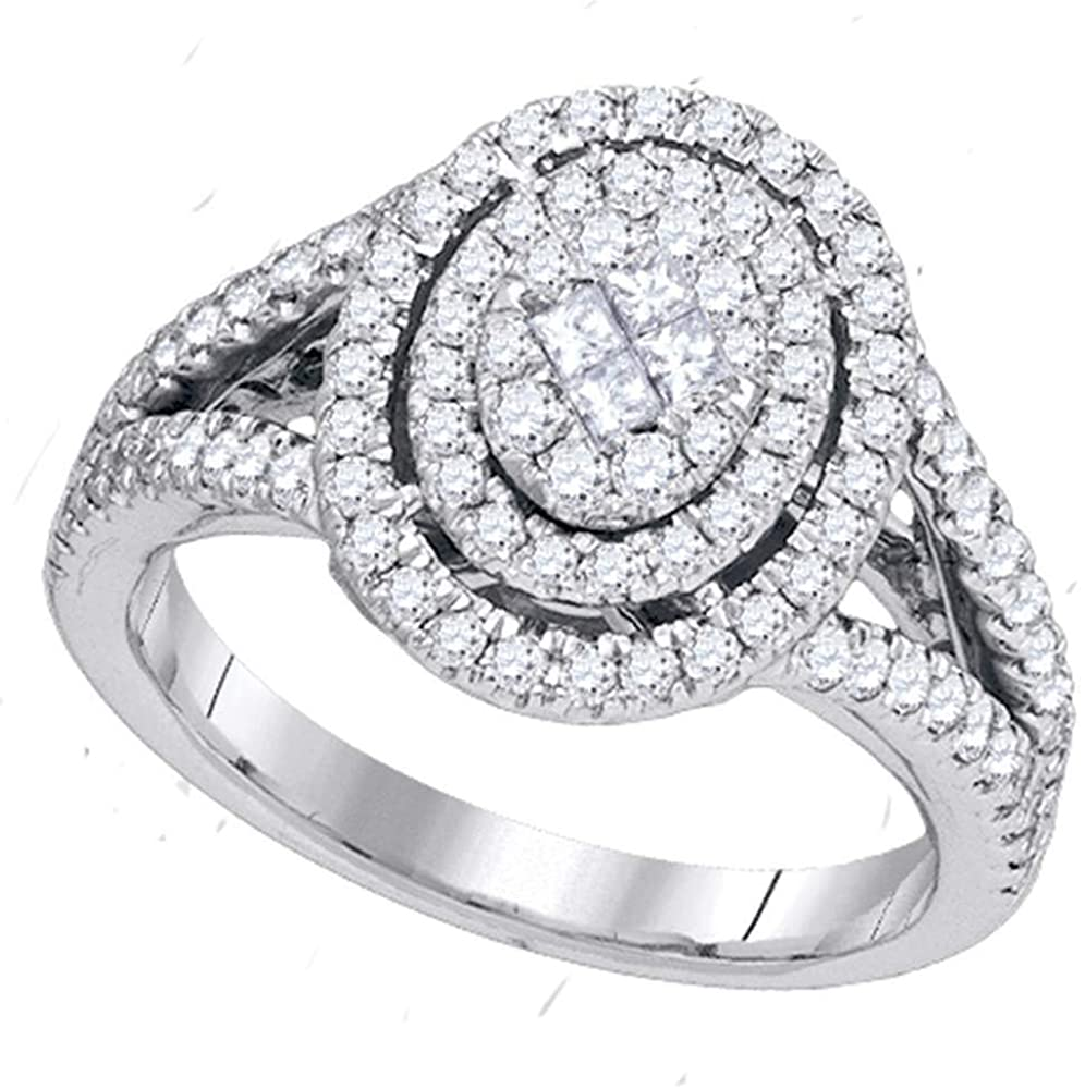 Dazzlingrock Collection 14kt White Gold Princess Diamond Oval Cluster Bridal Wedding Engagement Ring 1 Cttw