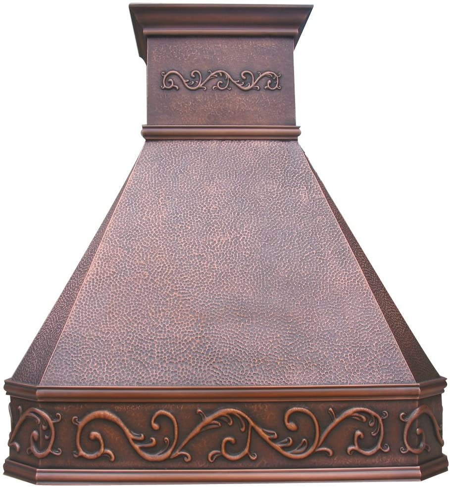 SINDA Wall Mount Hand-Crafted Copper Range Hood for Kitchen with SUS304 Liner and Baffle Filter, 30