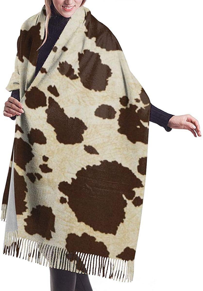 Big Cow Fur Print Pattern Women's Winter Warm Scarf Fashion Long Large Soft Cashmere Shawl Wrap Scarves