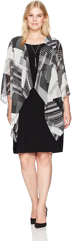Tiana B Women's Plus Size Chiffon Print Jacket Dress