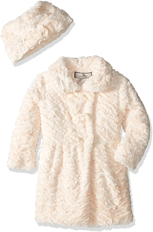 Widgeon Little Girls' 3 Bow Faux Fur Coat with Hat, Textured Wave Dew, 4T, Textured Wave Dew, Size 4T