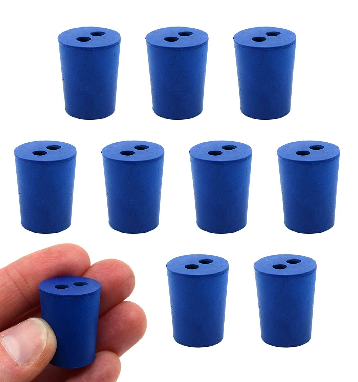 Neoprene Stopper, 2 Holes - Blue, Size: 15mm Bottom, 18mm Top, 24mm Length - Pack of 10