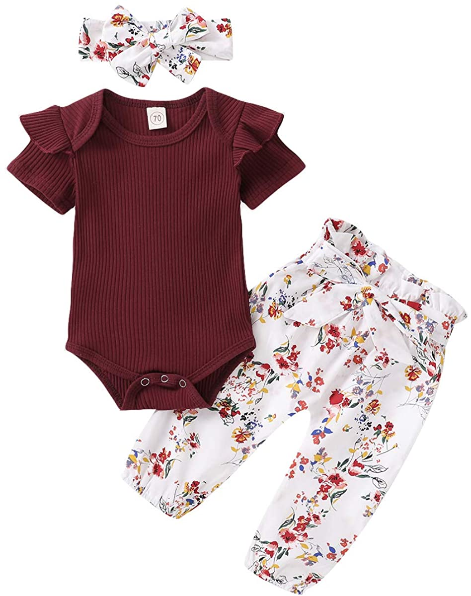3Pcs Infant Baby Girl Sets Ruffle Romper T-Shirt Tops Flower Pant with Headband Outfits Clothes