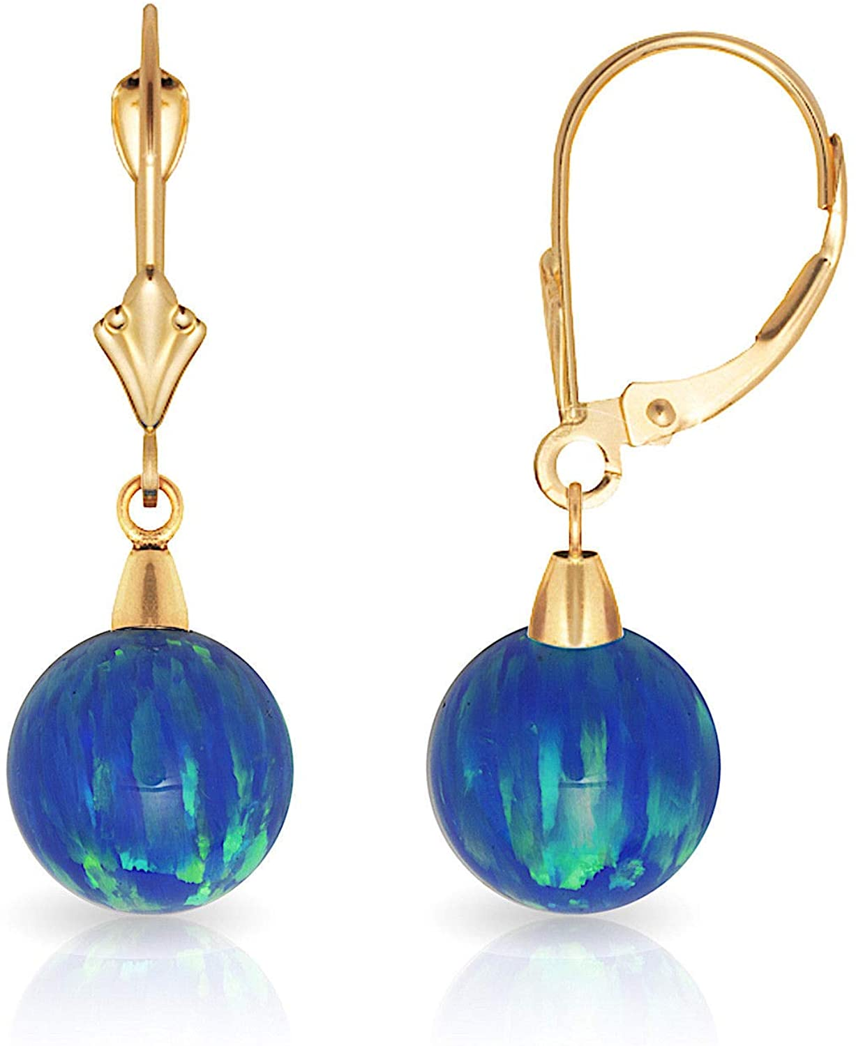 14k Yellow Gold Blue 8x8mm Simulated Opal Ball Drop Leverback Earrings Measures 27x8mm Jewelry Gifts for Women