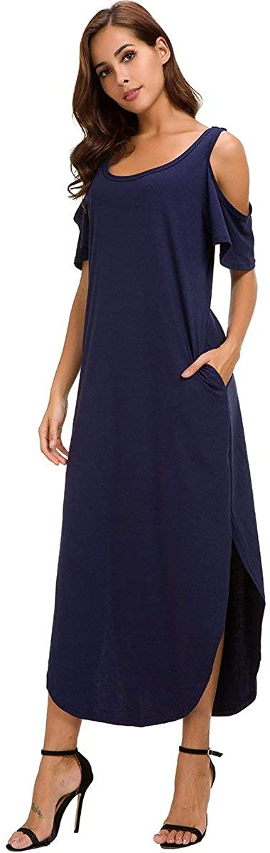 Womens Ruffle Sleeve Dress Cold Shoulder Long Maxi Side Split Dress with Pockets Casual