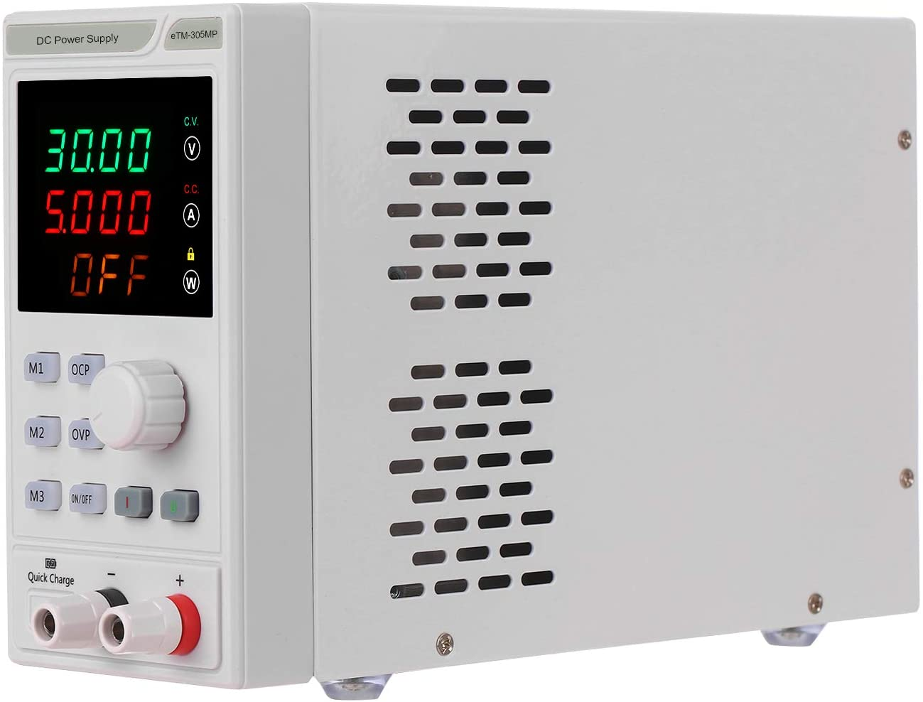 110V 0-30V 0-5A Programmable DC Power Supply Power Regulator 4-digit LED Display Voltage and Current Mini Regulated Power Supply with Alligator Leads
