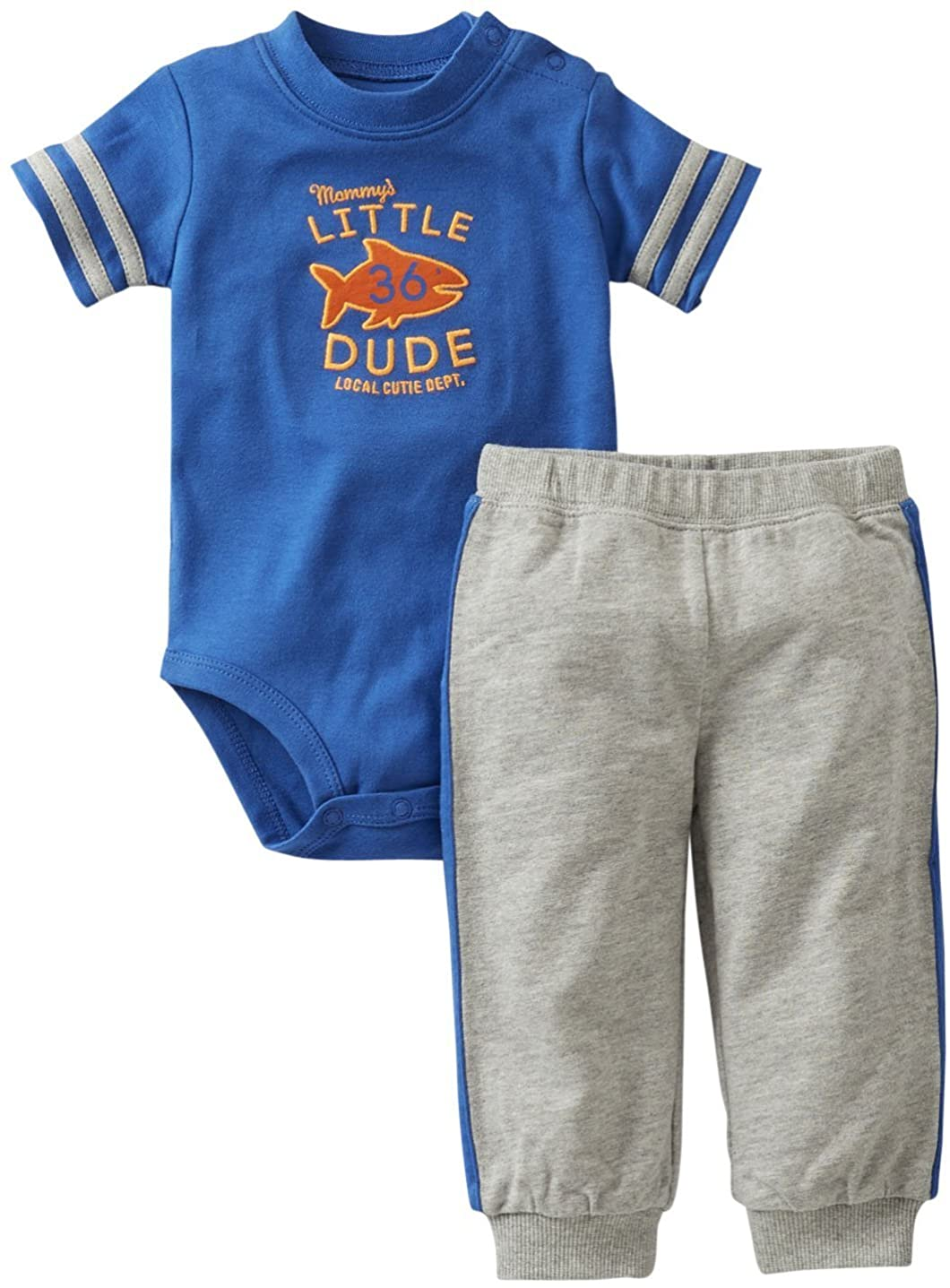 Carter's 2 Pc Blue and Grey Mommy's Little Dude Set