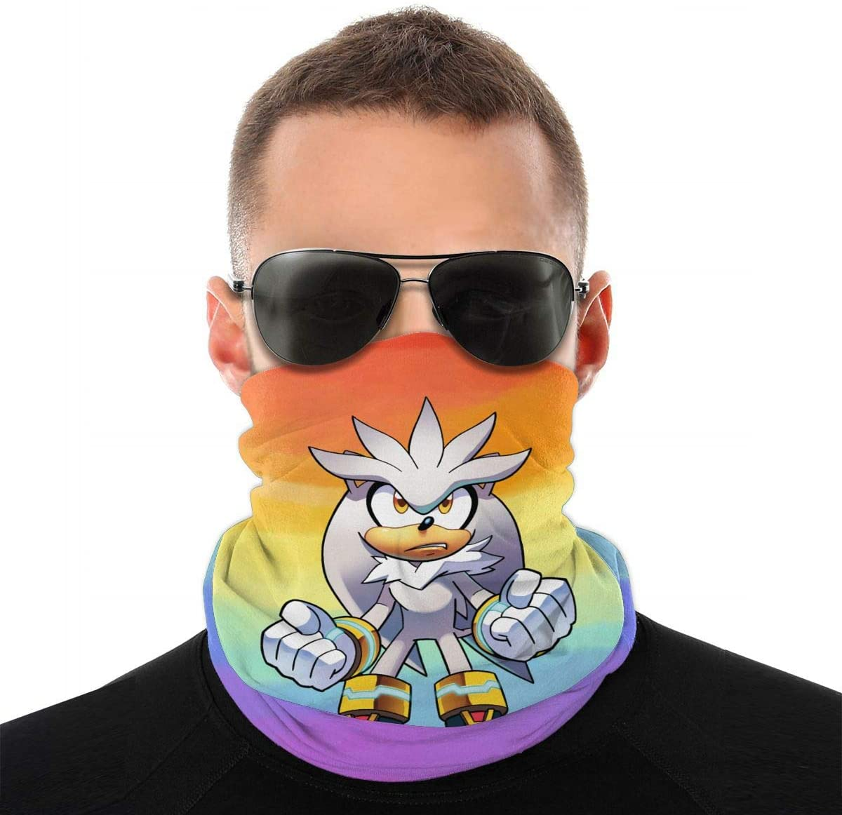 NOT Sonic The Hedgehog Silver The Hedgehog Headwrap Scarf Face Headkerchief