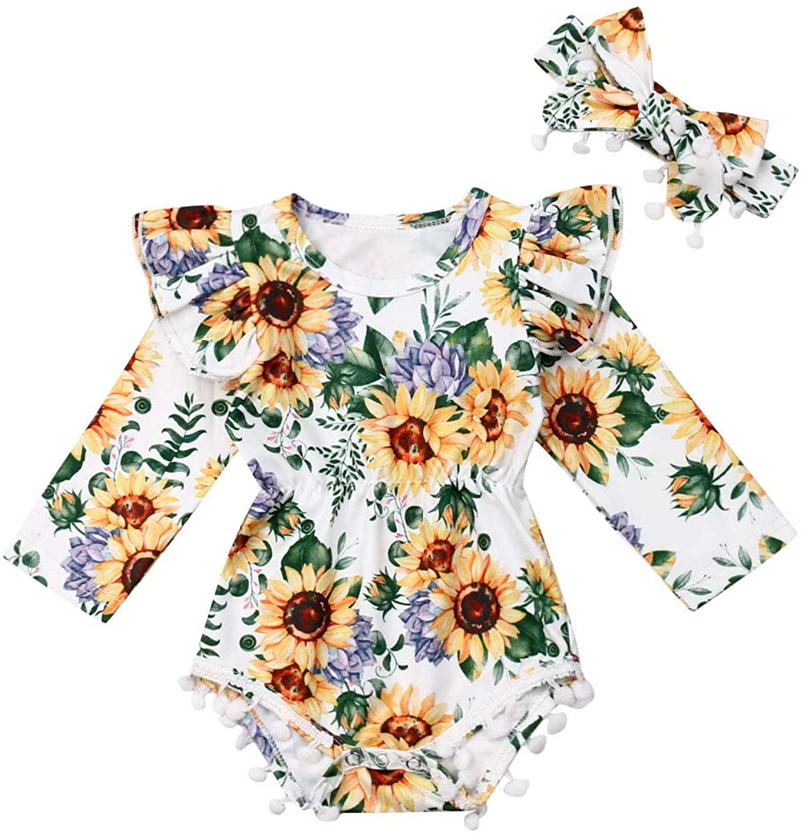Baby Girl Floral Bodysuit Romper with Headband Infant Newborn 2Pcs Sunflower Pompom Outfit Set for 0-24 Months