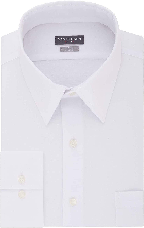 Van Heusen Men's Dress Shirt Fitted Flex Collar Stretch Solid