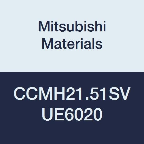 Mitsubishi Materials CCMH21.51SV UE6020 CVD Coated Carbide CC Type Positive Turning Insert with Hole, Rhombic 80°, 0.25