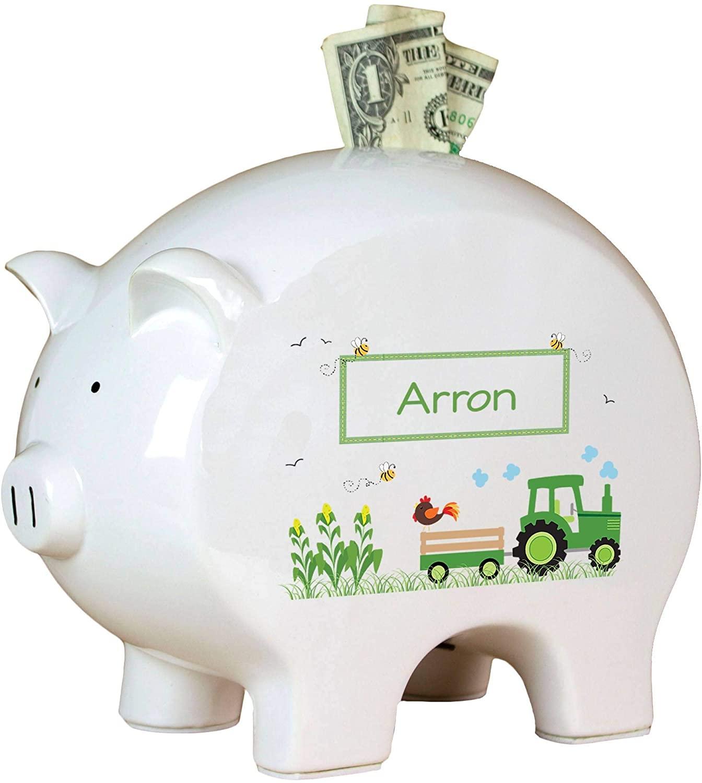 MyBambino Personalized Green Tractor Piggy Bank newe Born Farm Baby Gift