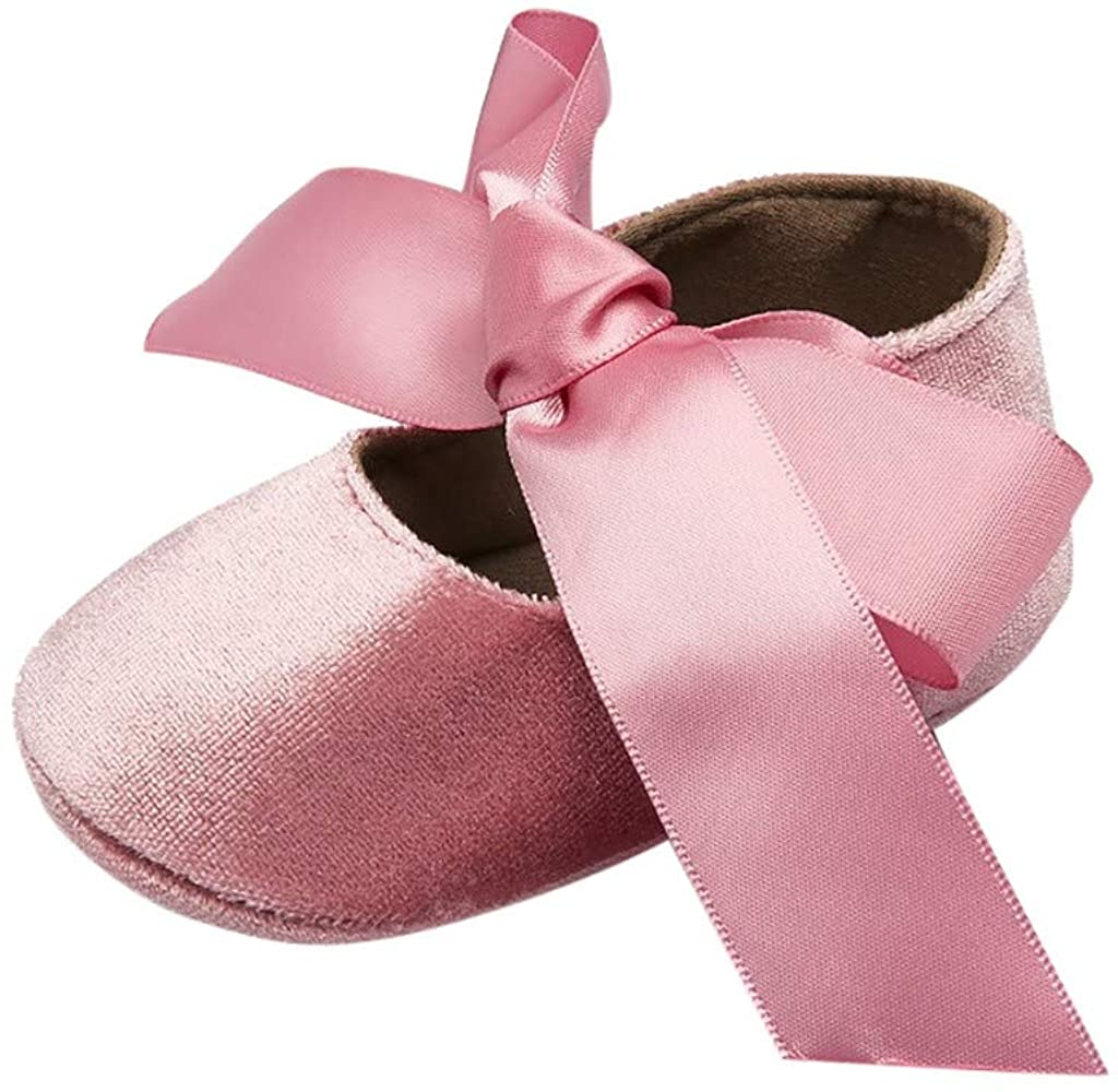 Infant Baby Girls First Walking Shoes for 6-18 Months Soft Soled Non-Slip Silk Bow Knot First Walkers Shoes