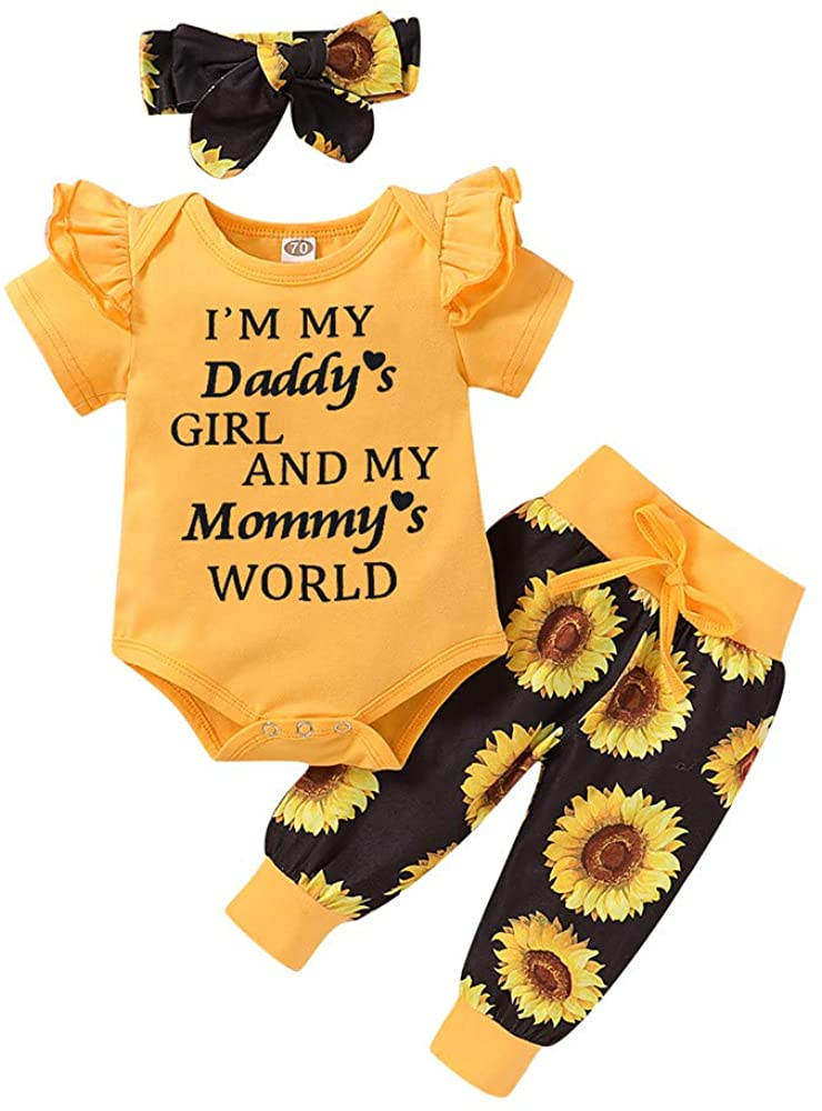 Infant Baby Girls Clothes Sets Ruffle Romper Bodysuit Tops & Sunflower Pants & Headband Cute 3 Piece Outfits Set