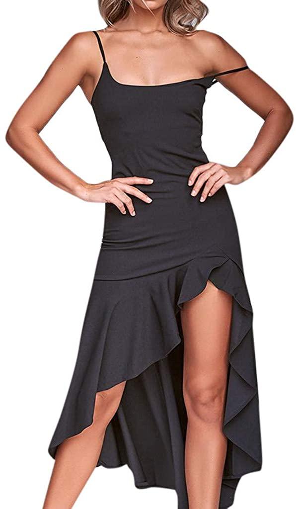 Adeliber Women's Sexy Irregular Ruffle Dress Off-Shoulder Sleeveless Princess Dress Sling Dress