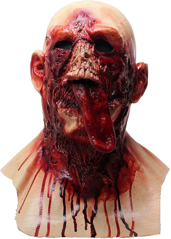 LEKA NEIL Halloween mask-Zombie mask-Vampire Mask-Creepy Costume Corpse Party Overhead Mask (Red-B)