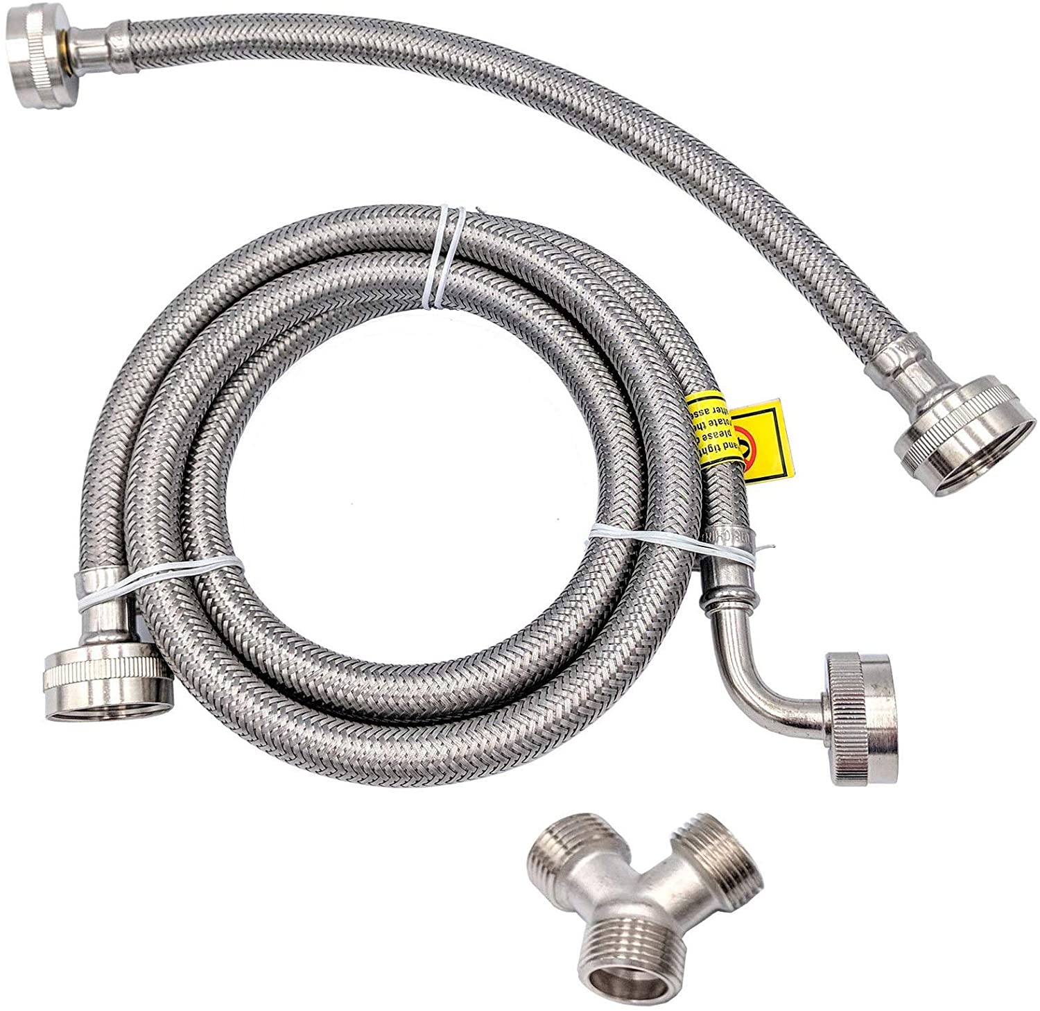 Supplying Demand 41025 Clothes Dryer Steam Hose Installation Kit Braided Stainless Steel 5 Ft With Elbow