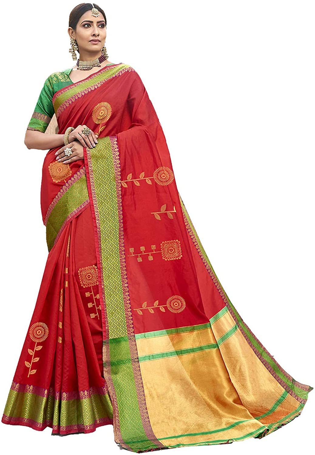 Indian Saree for Women Ethnic Sari Red Silk Sari with Unstitched Blouse. ICW2738-1